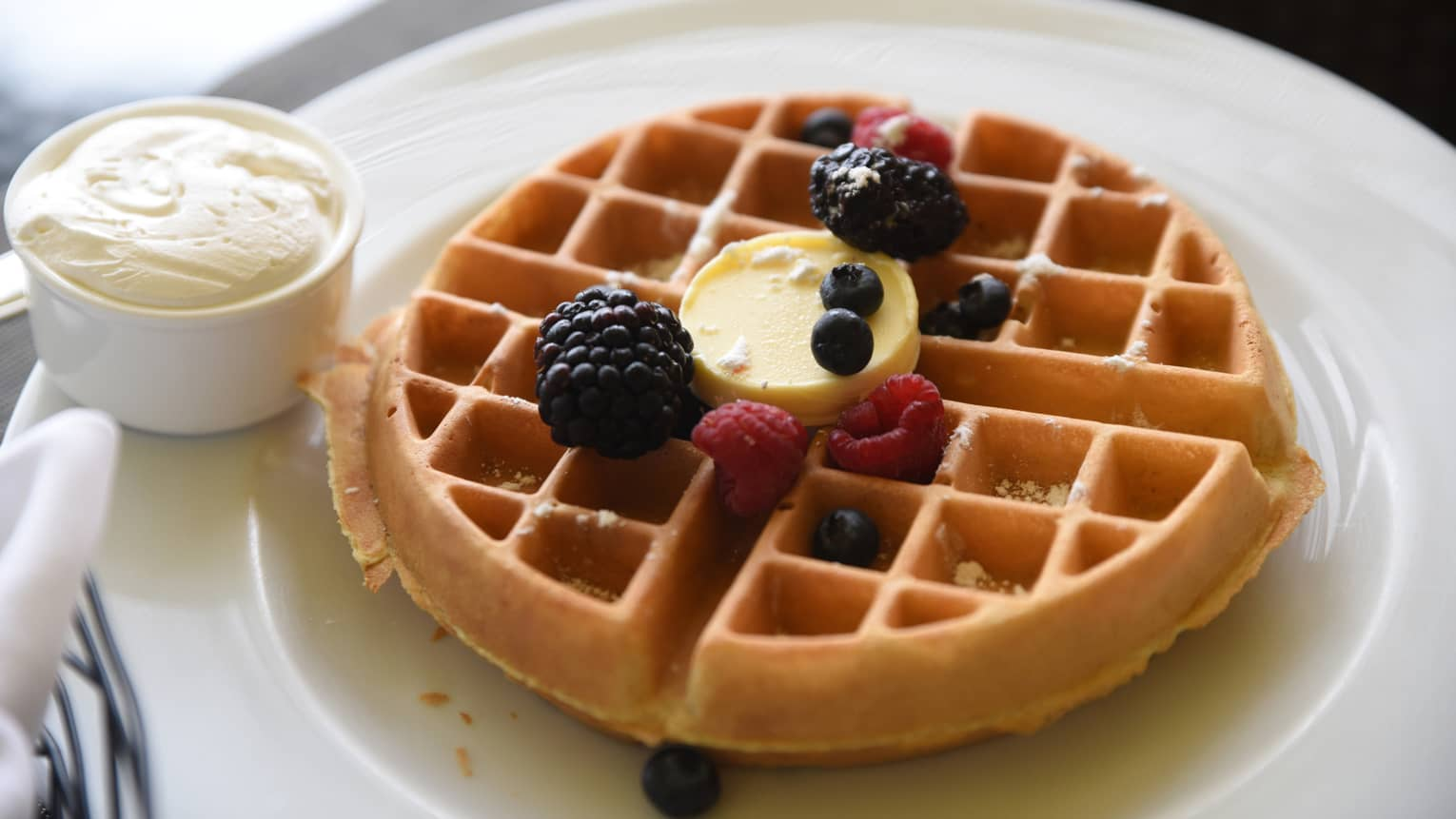 Waffle with butter and sprinkle of fresh berries, cup of whipped cream on plate