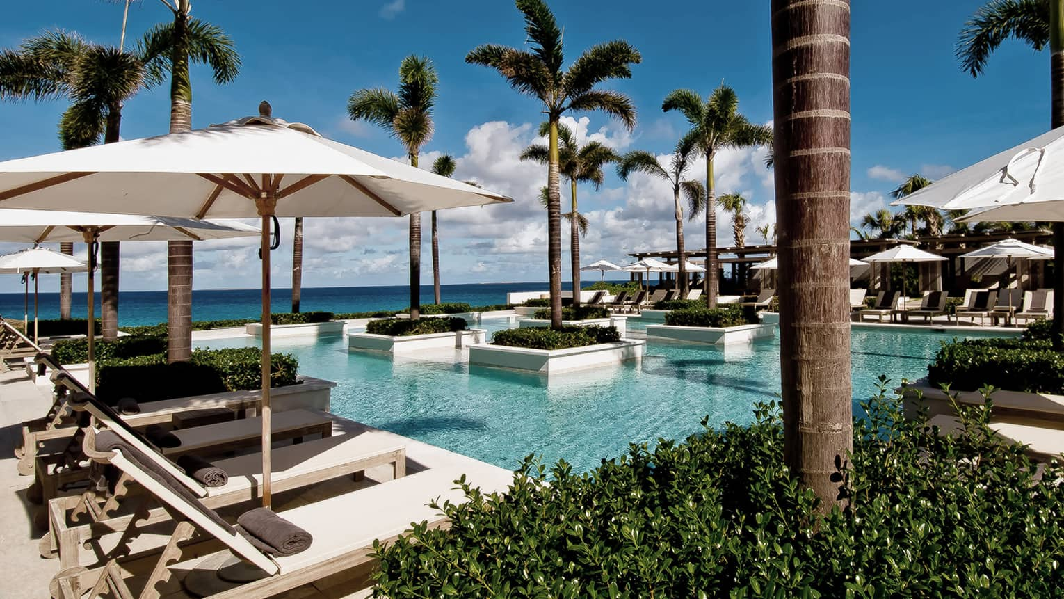 Aleta Pool with white potted palms, surrounded by white patio chairs, umbrellas, ocean views
