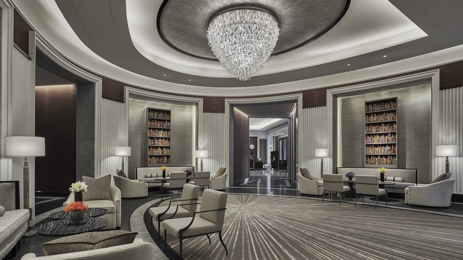 the chic, modern lobby at four seasons hotel boston one dalton