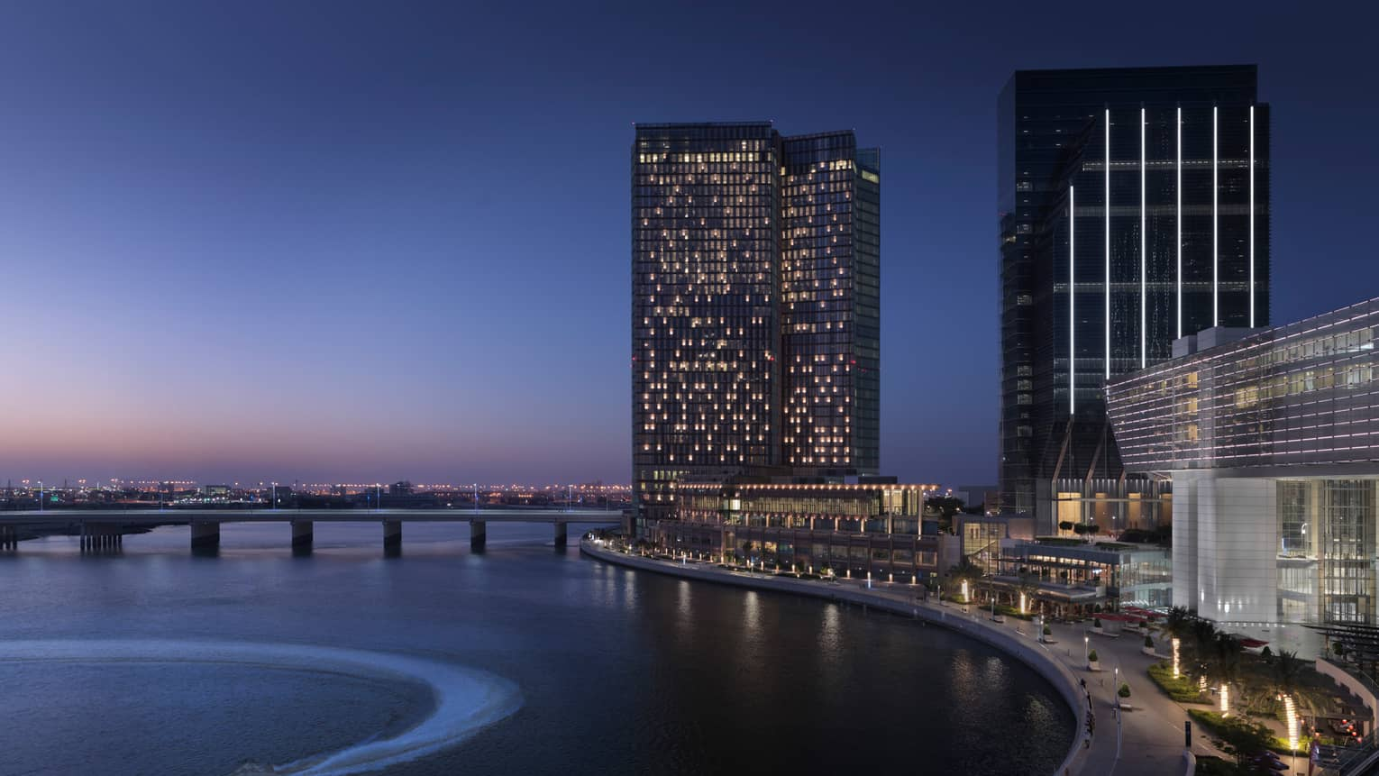 Exterior view of Four Seasons Hotel Abu Dhabi at Al Maryah Island at night