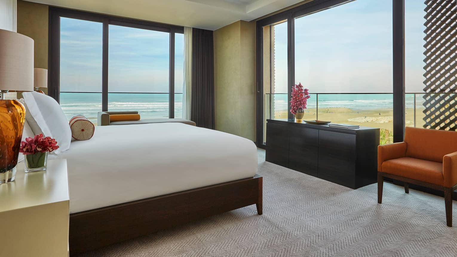 Imperial Suite Ocean room with bed, corner windows with Atlantic Ocean views