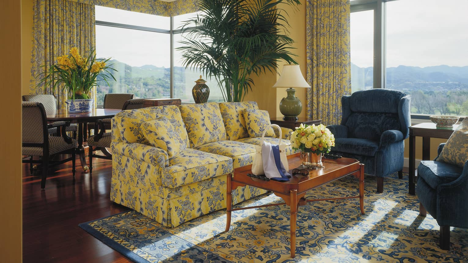 One Bedroom Suite Blue And Yellow Fl Sofa Armchair Coffee Table With Purse