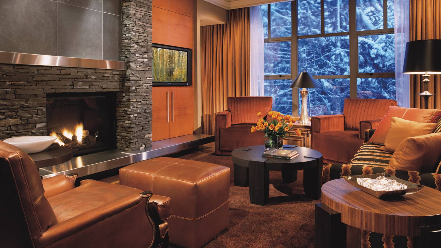 Brown leather armchair, stool and seating area in front of modern gas fireplace, large window