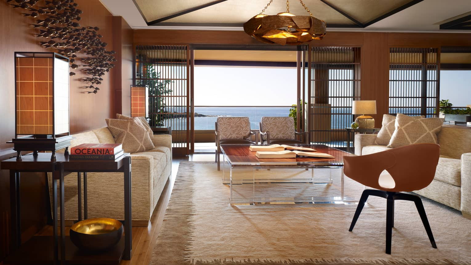The Alii Suite Living Room opening to the ocean