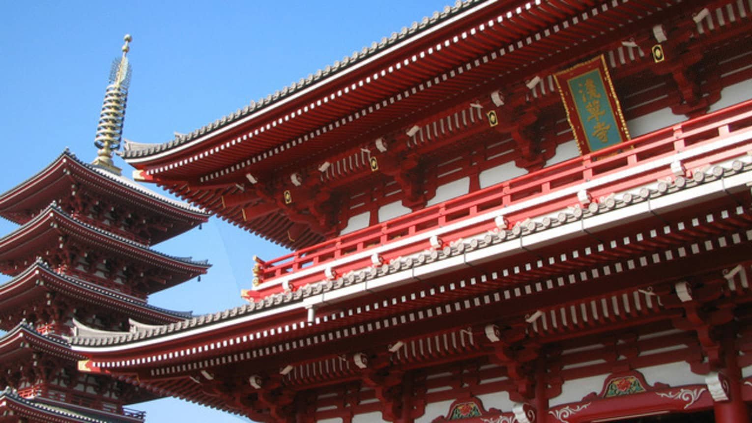 Close-up of detailed ridges of Senso-Ji Temple red pagoda