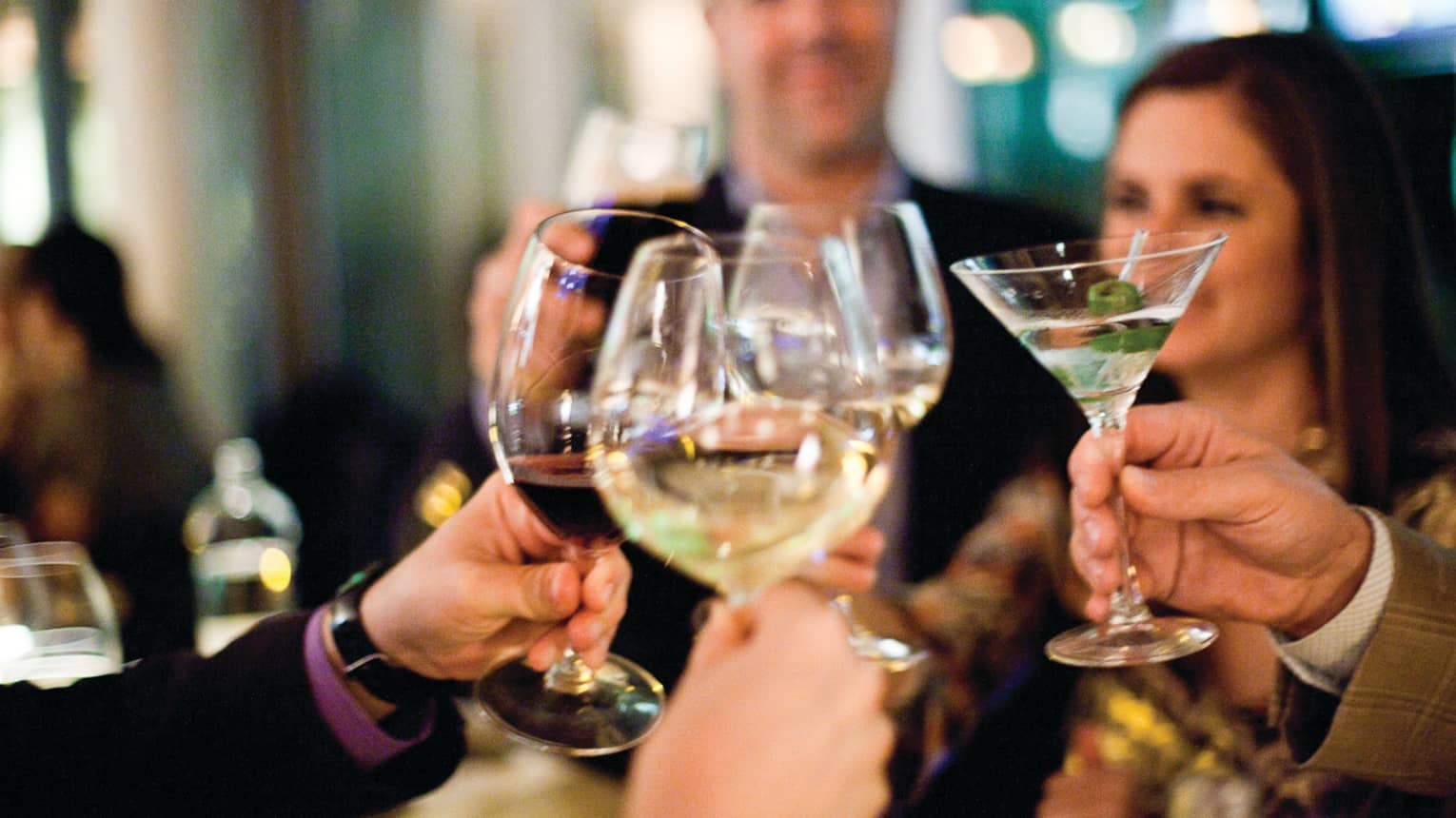 Group of friends toast with wine and martini glasses