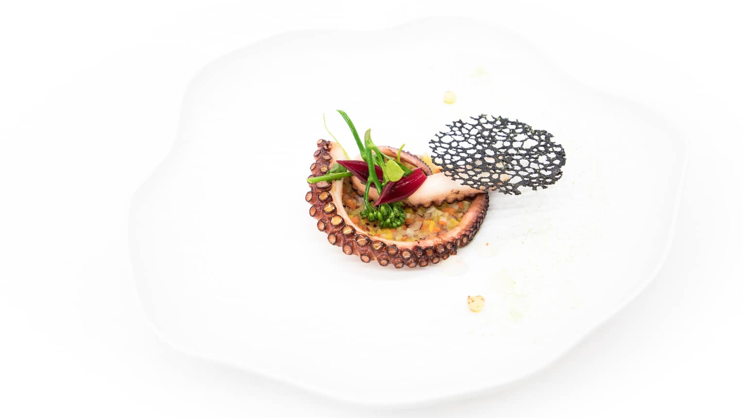 Octopus Confit from Algarve with crispy vegetables on white dish with lemon gel, Espelette pepper, green shiso