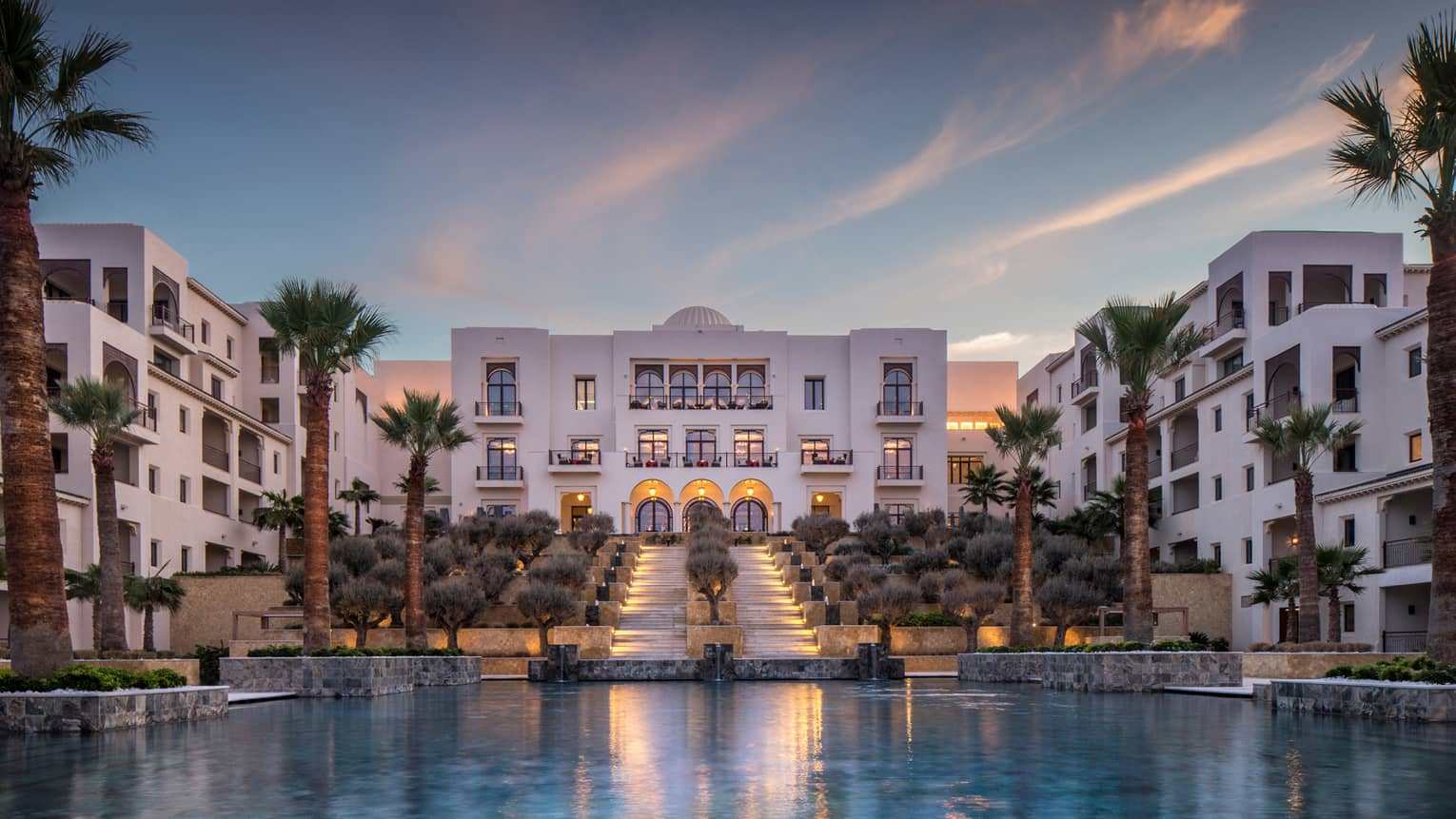Perfect Four Seasons Hotel Tunis Modern White Buildings Around Pool, Palm Trees At  Sunset