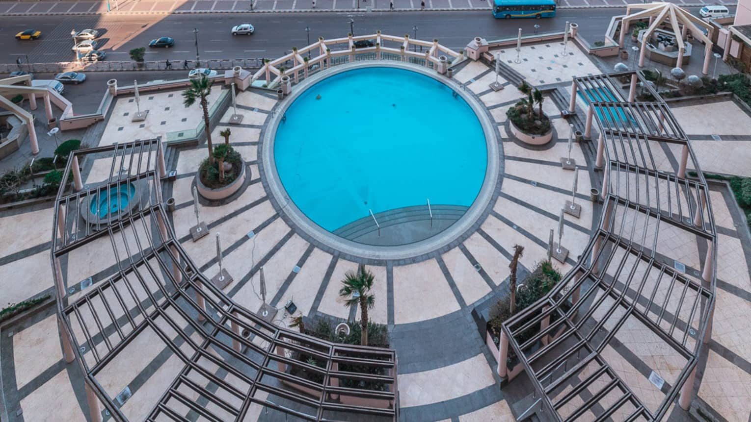 A bird's eye view of the pool at four seasons hotel alexandria