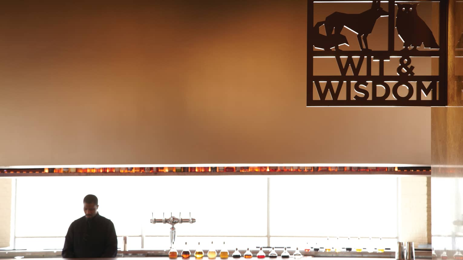 Silhouette of bartender at bar under high wall with black Wit and Wisdom sign