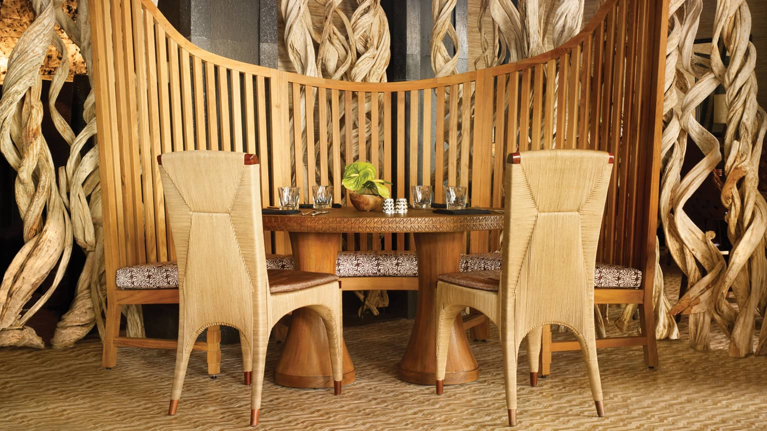 Teak booth, table, wood chairs in View Restaurant lounge