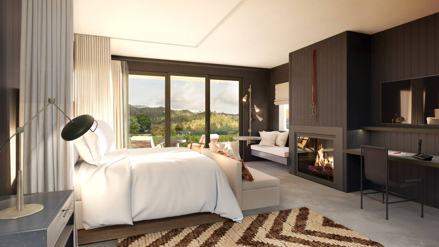 Guest bedroom with mountain views and a fireplace
