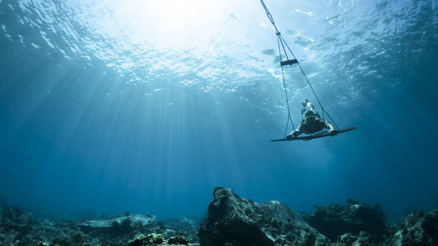 A guest uses a subwing to explore underwater