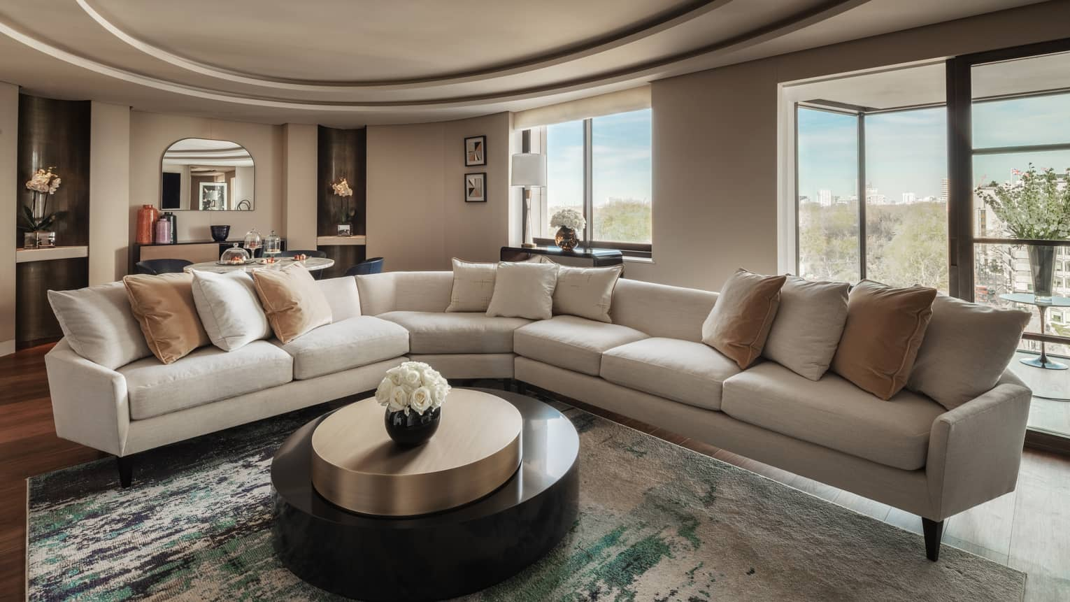 Hyde Park Suite large L shaped sofa around round coffee table