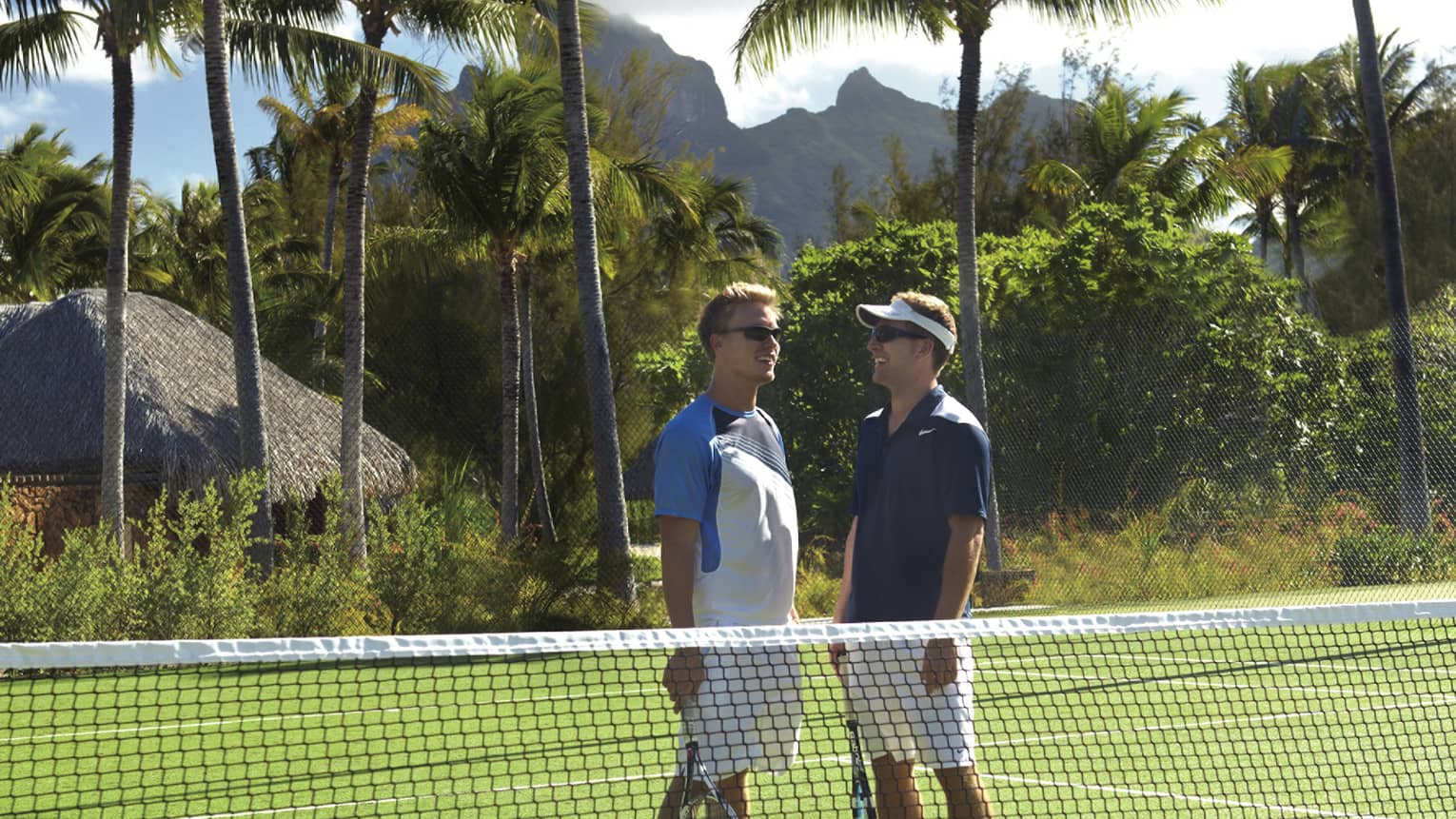 Two men talking on grass tennis court, palm trees in the background