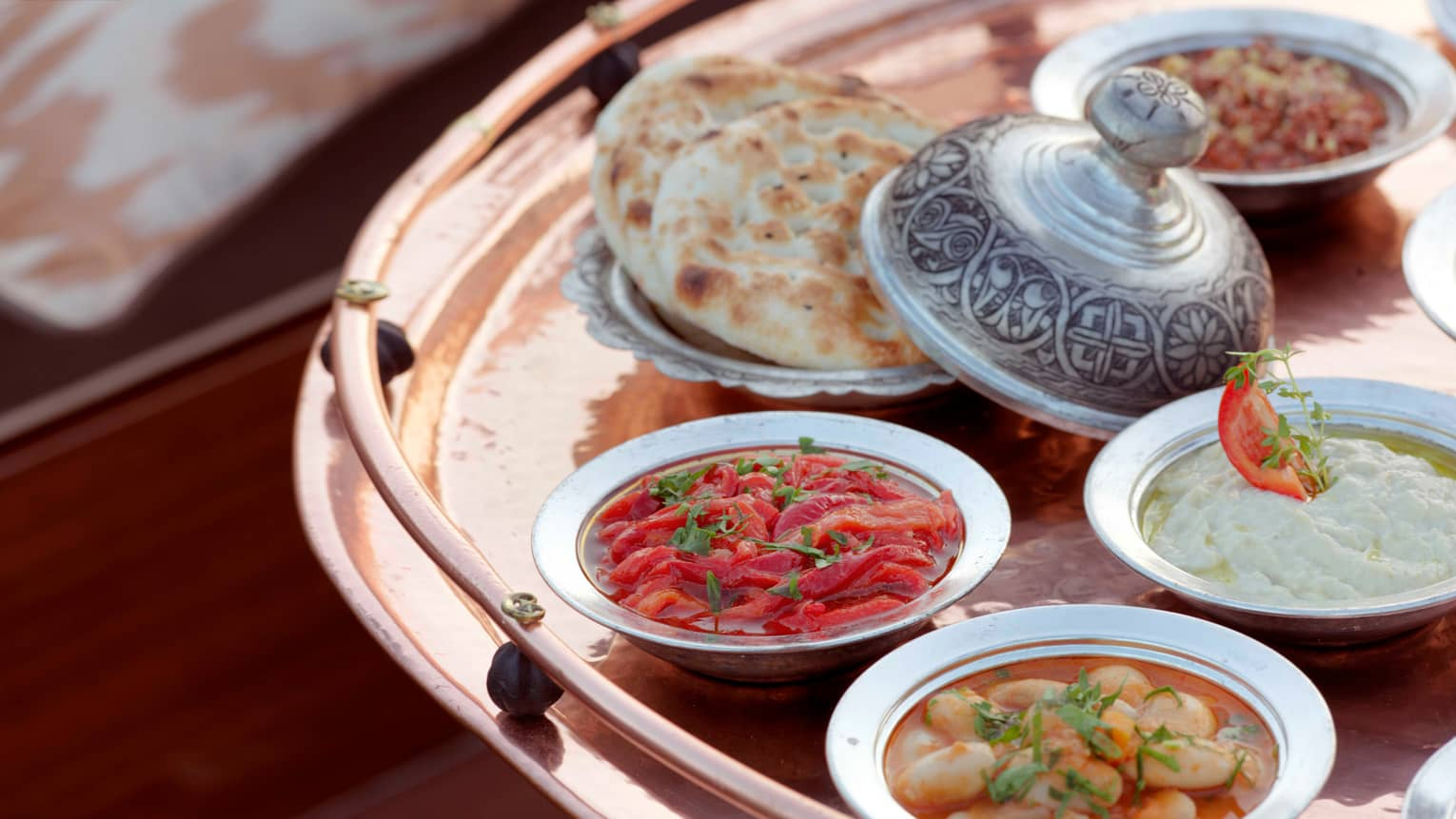 Small Mezze dishes on brass platter