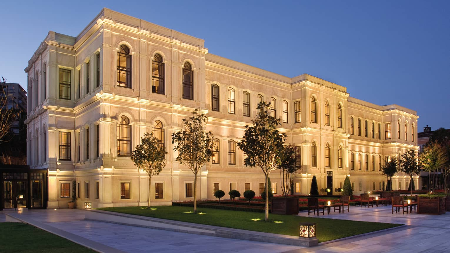 Four Seasons hotel Istanbul at the Bosphorus exterior, converted Ottoman palace