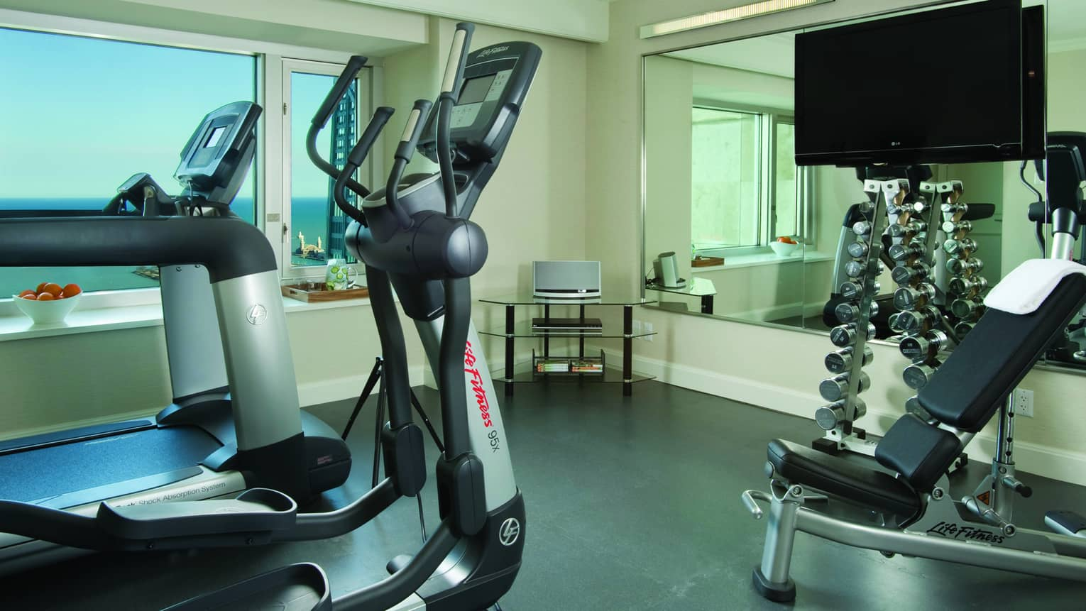 Presidential Suite private gym elliptical machine, treadmill, free weight and small flat-screen TV
