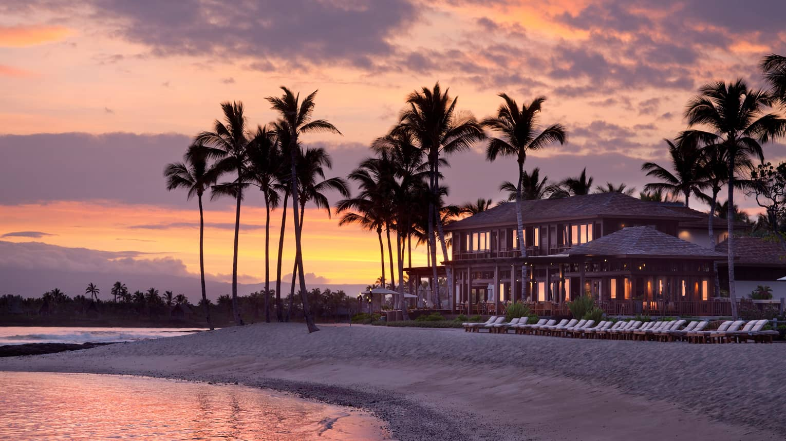 The beachside resort at sunset