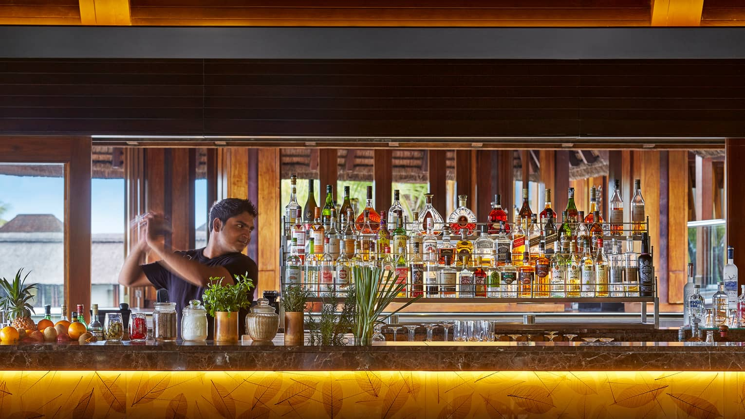 Bartender shaking cocktail from behind O Bar lounge bar with leaf pattern, liquor display
