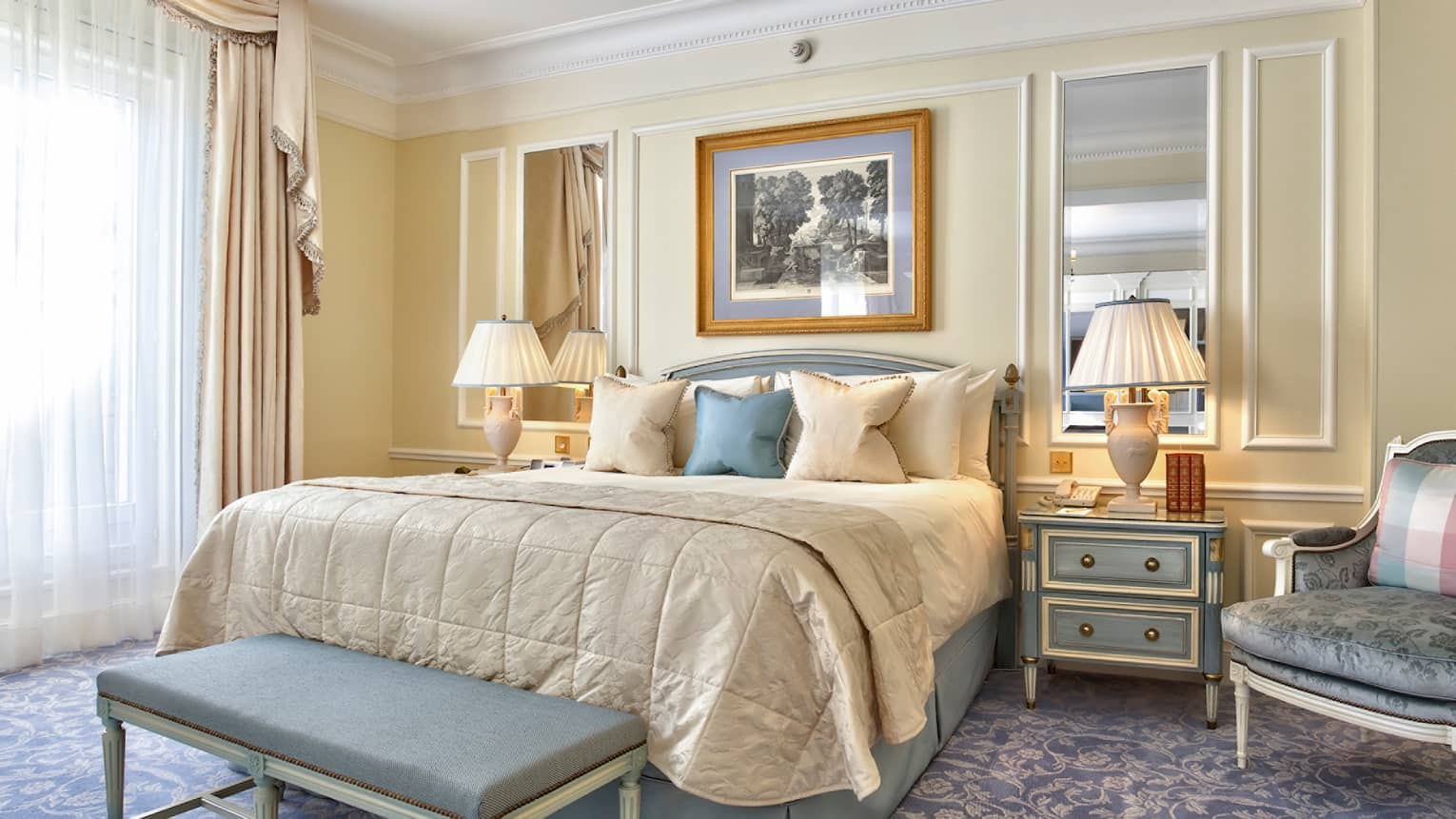 Premier Room Bed, Blue And White Accent Pillows, Bench Under Framed Sketch