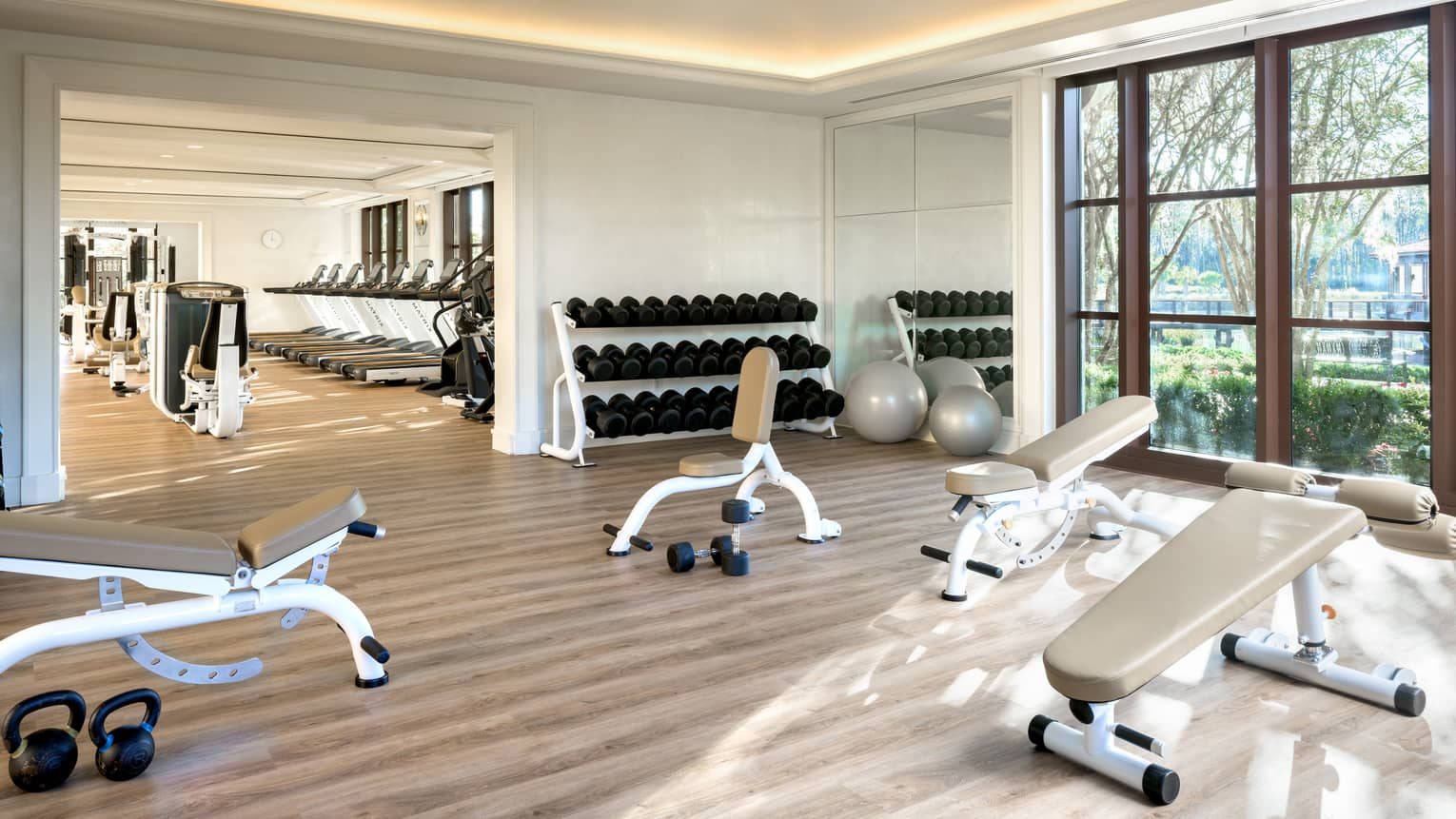 Bright Fitness Centre with leather benches, hand weights, large windows