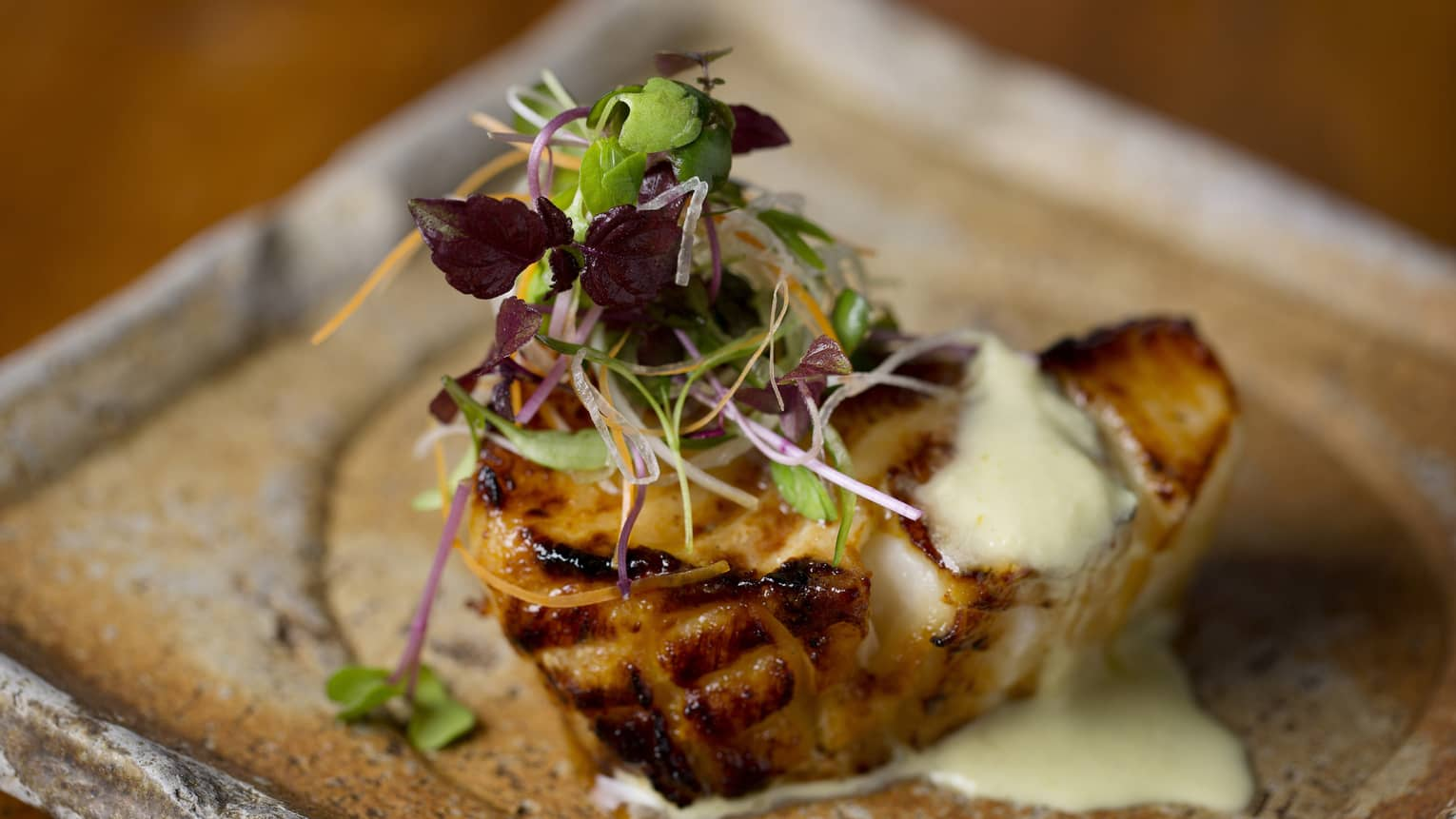 grilled chilean seabass with green chilli, ginger dressing
