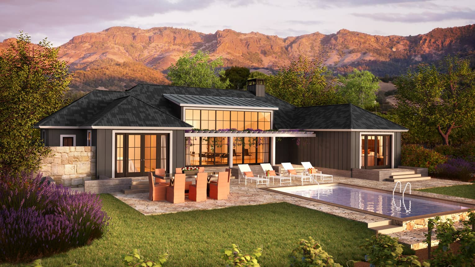Rendering of four bedroom single storey residence bungalow, pool at sunset
