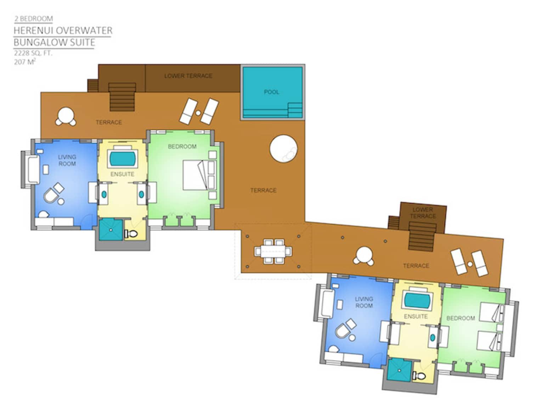 Two Bedroom Herenui Overwater Bungalow Suite