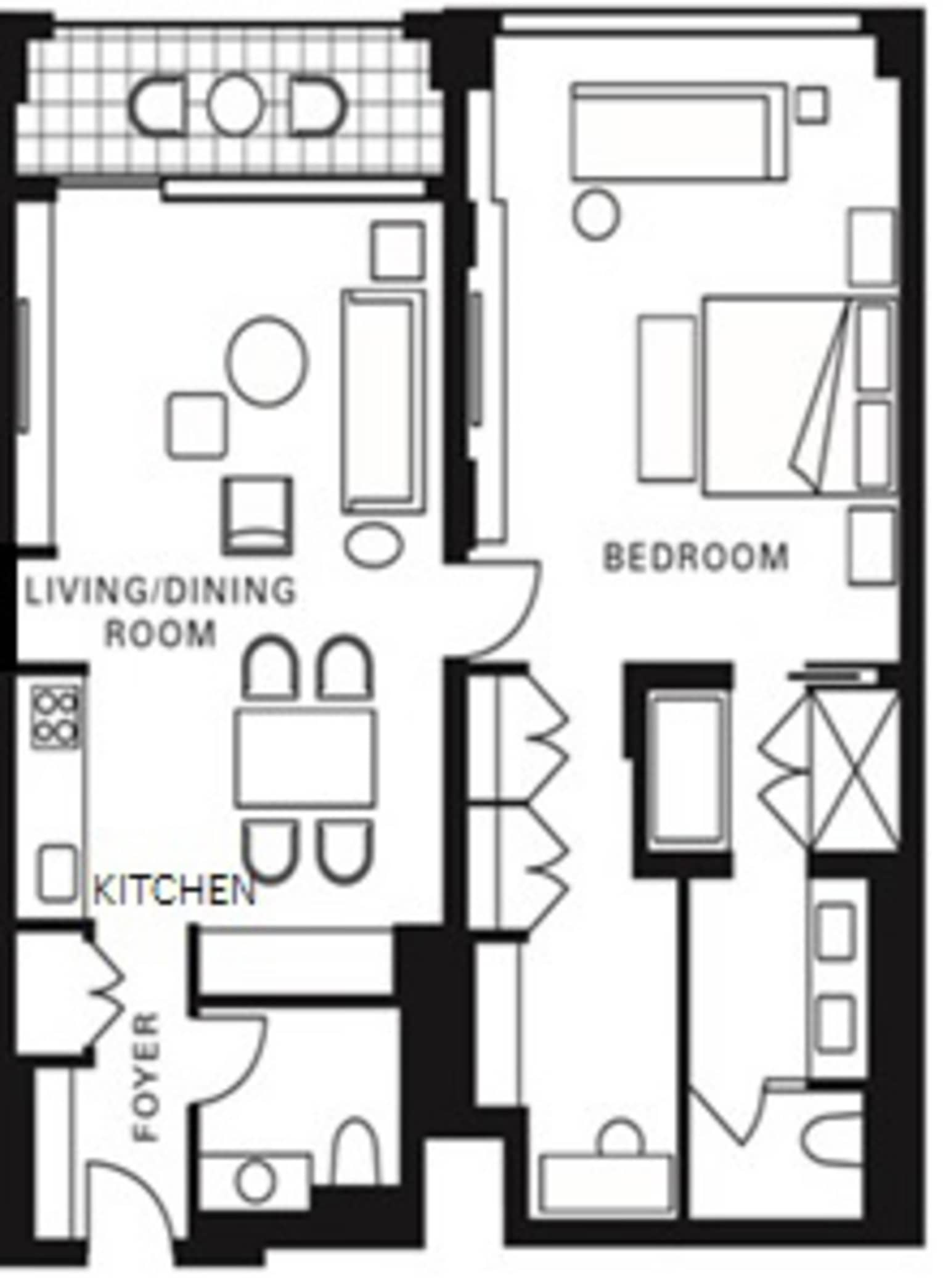 Hotel Room Plan: Luxury One-Bedroom Residence Suite With Kitchen