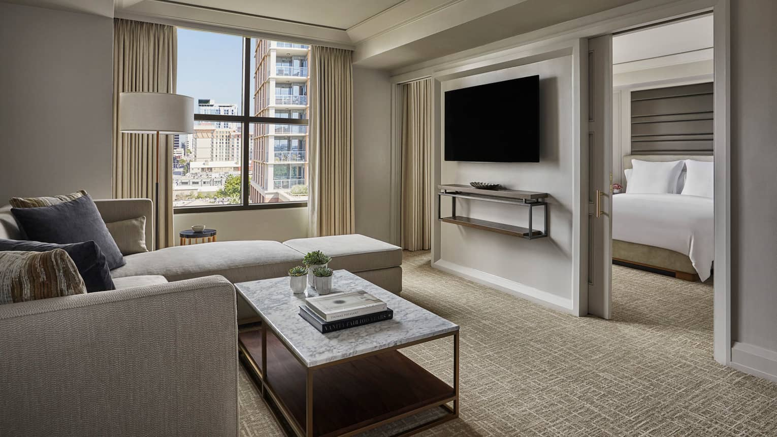 City View Executive Suite living room, window, TV on wall dividing bedroom