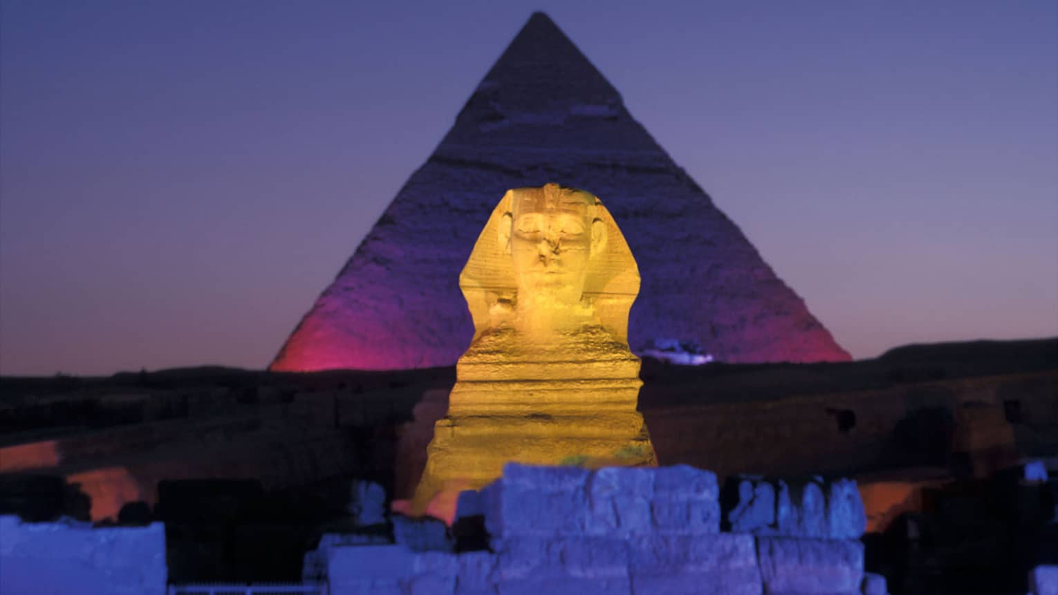 Sphinx and pyramid night light show Egypt