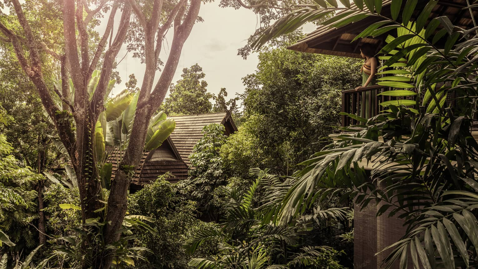 Woman on villa balcony looks out over tropical palms, trees, roof of next building