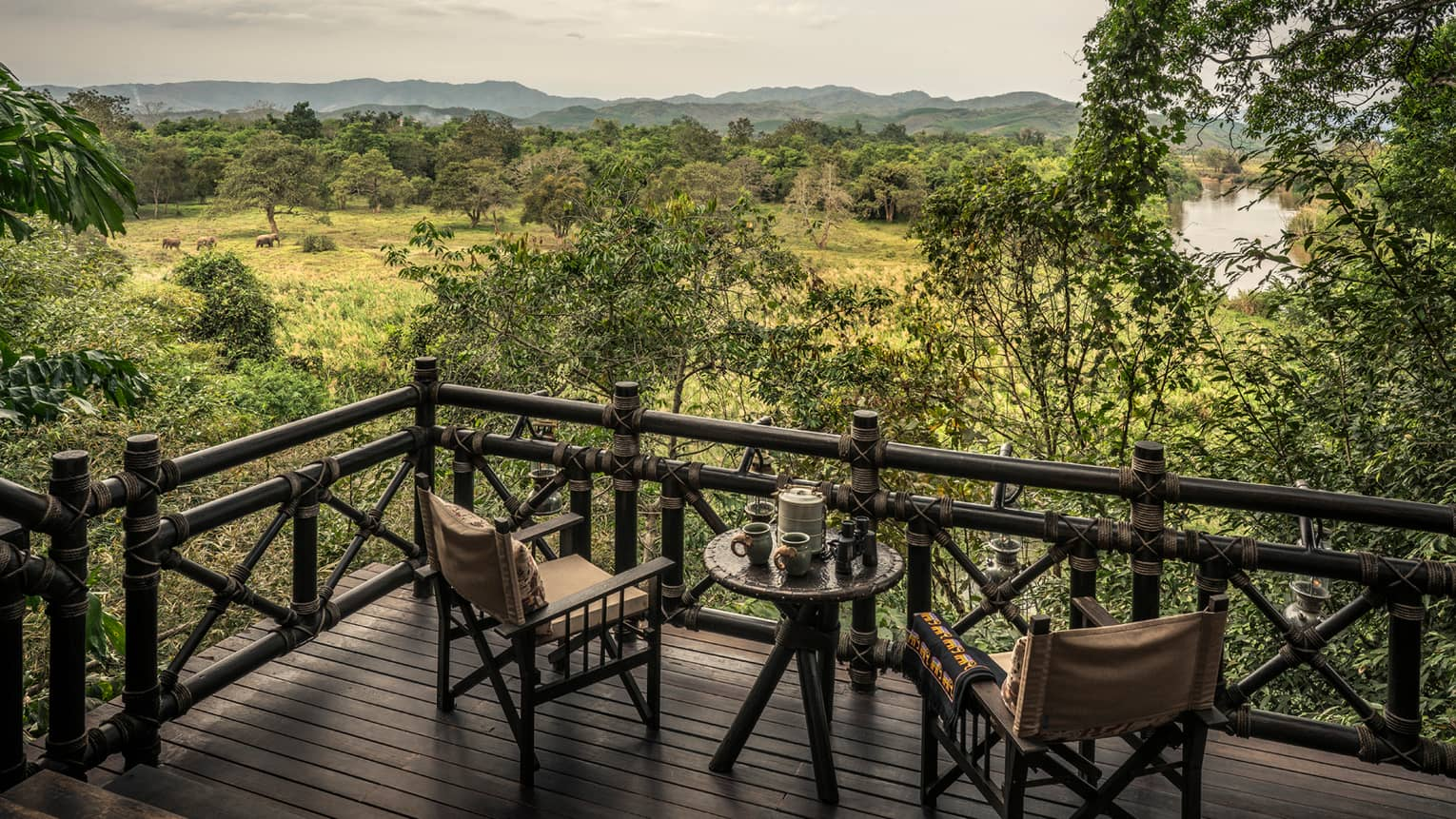 Wood chairs on balcony, looking out at green field with roaming elephants