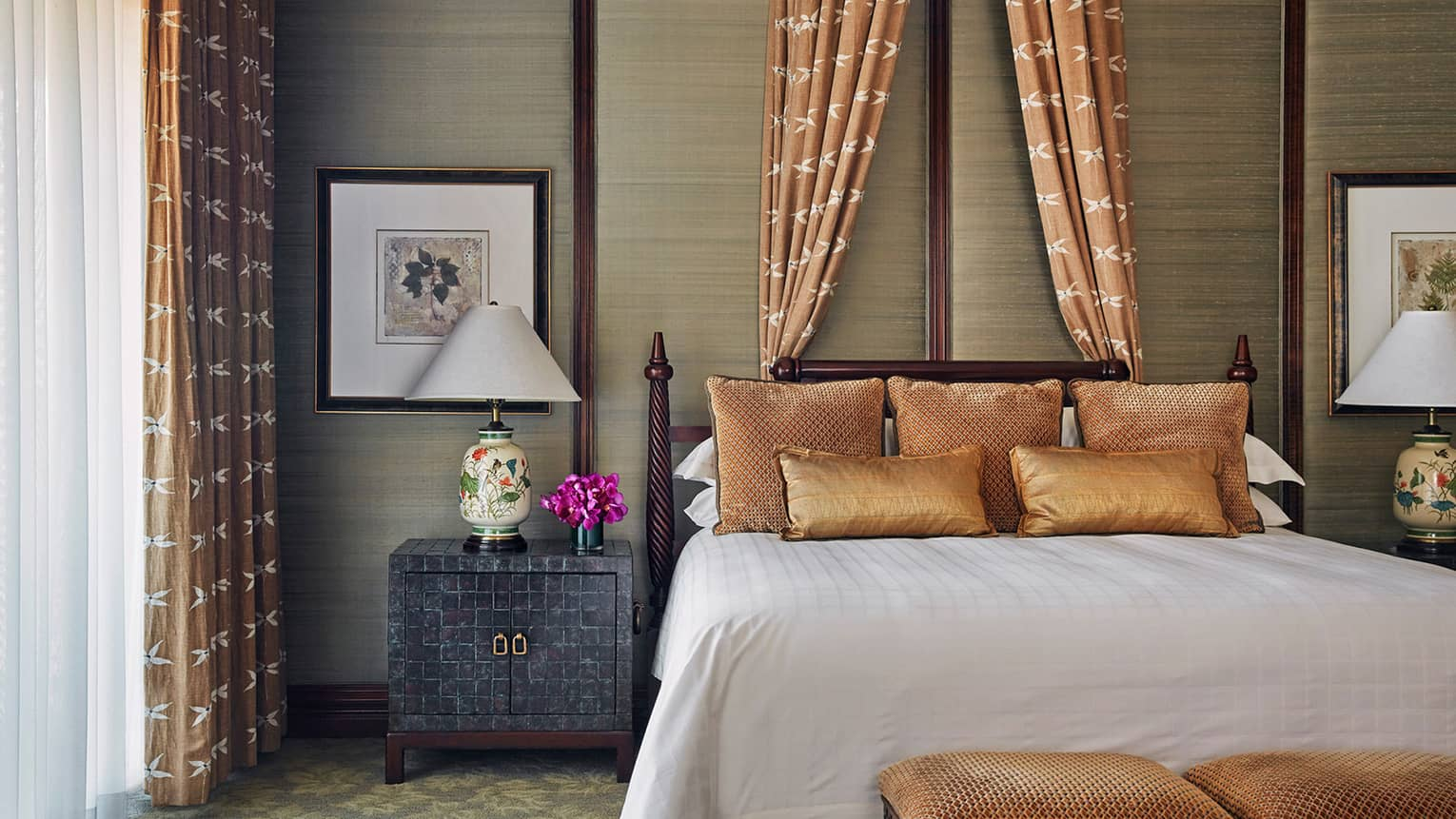 Byron Nelson Suite bed with silk copper pillows, canopy, curtains over sunny window