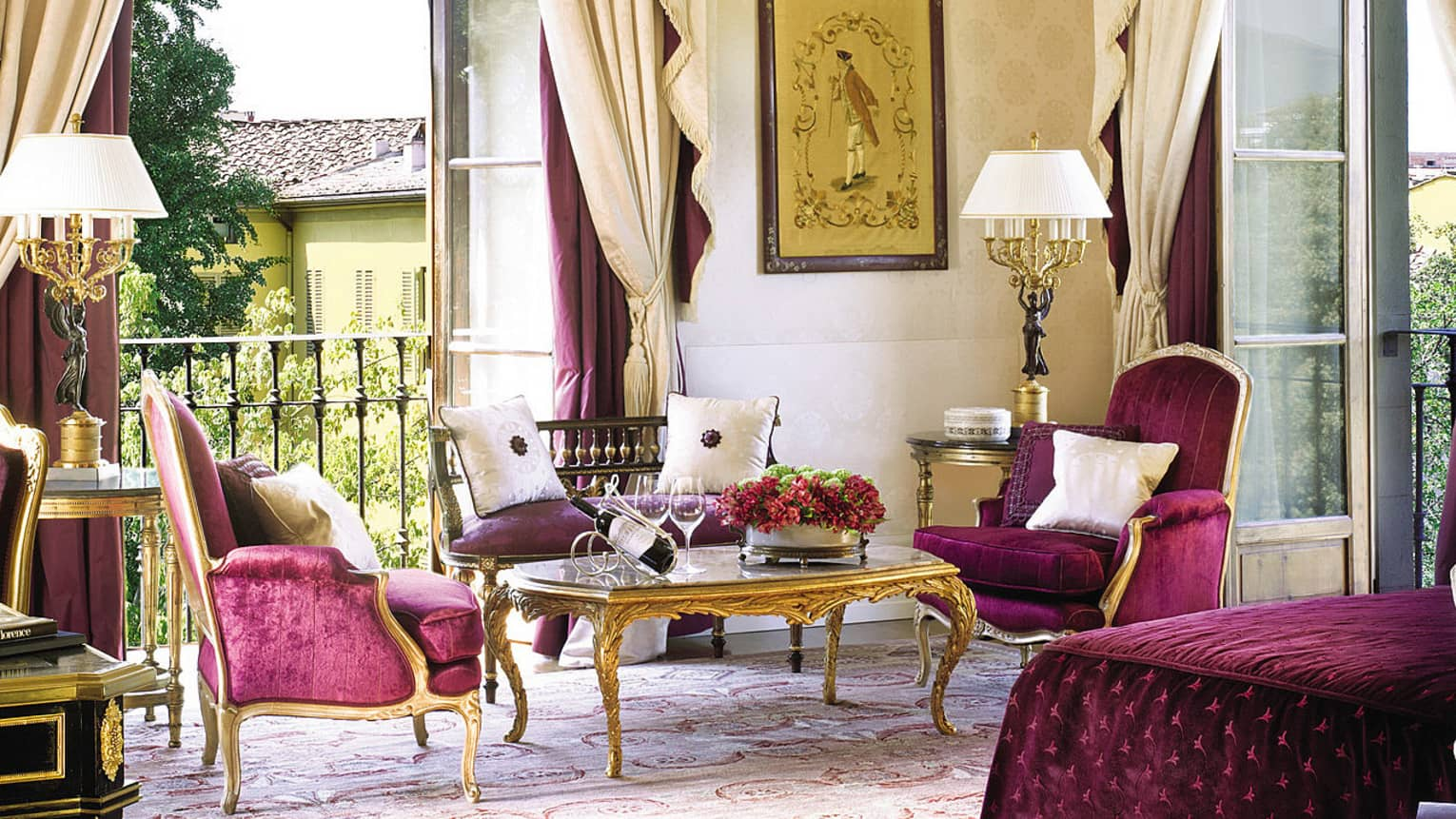 Presidential Suite De' Medici purple velvet armchairs, loveseat, open balcony doors
