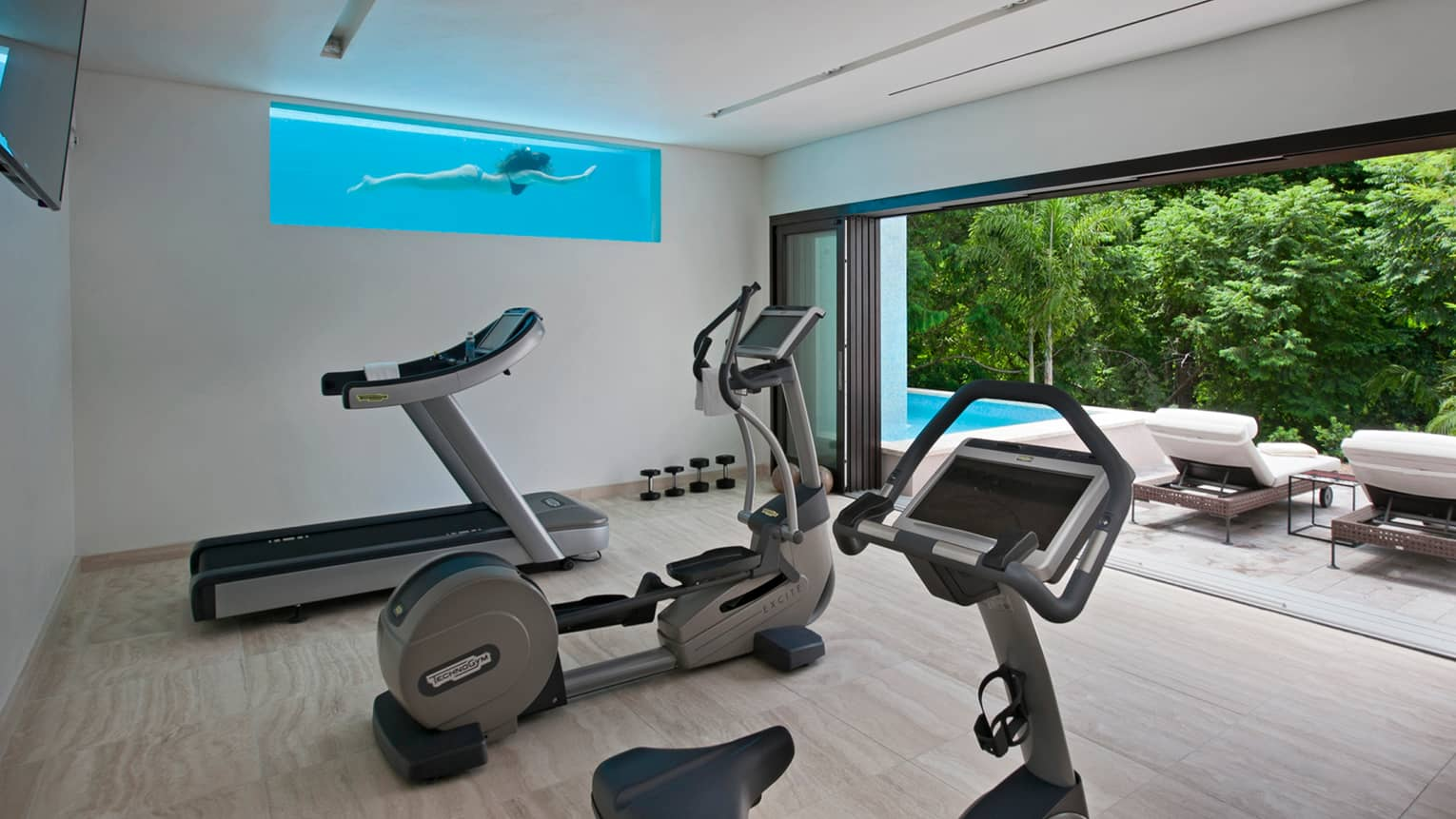 Cardio stationary bike, elliptical treadmill in private fitness room off patio