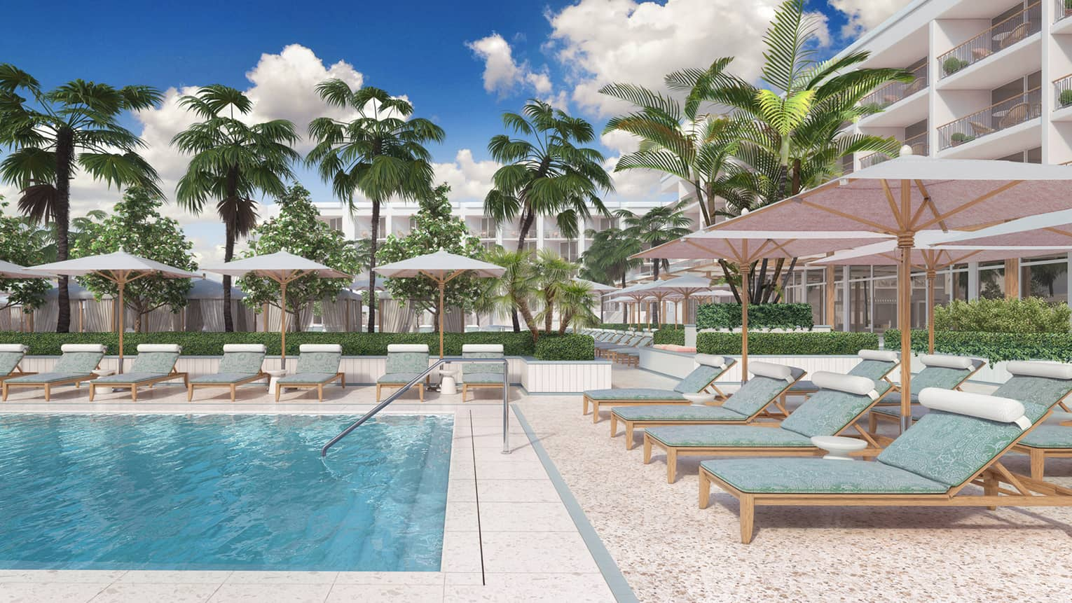 Teal lounge chairs with individual umbrellas displayed around an outdoor pool with palm trees in the background
