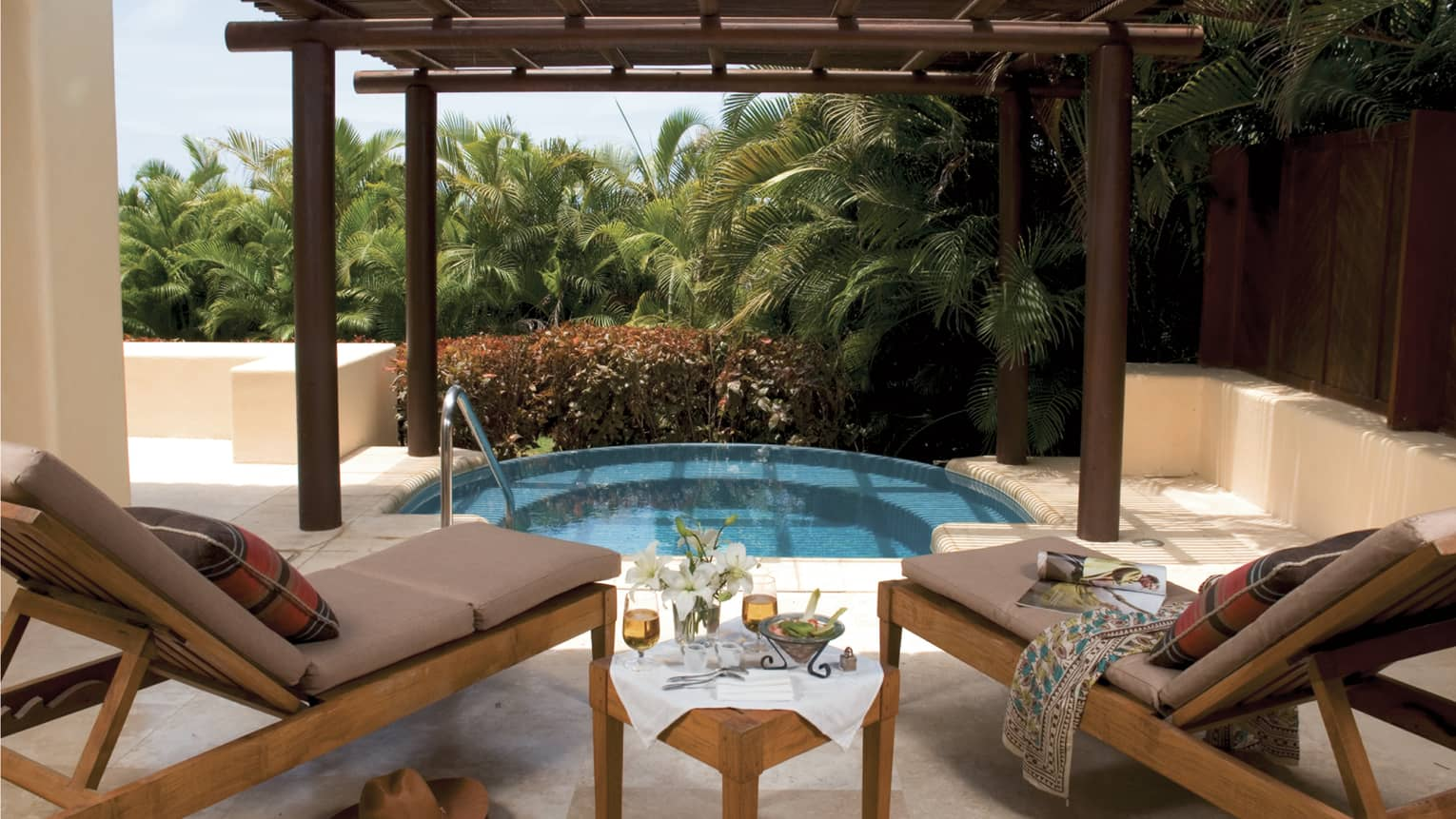 Plunge pool beside lounge chairs and table with fresh flowers, glasses of beer and dip