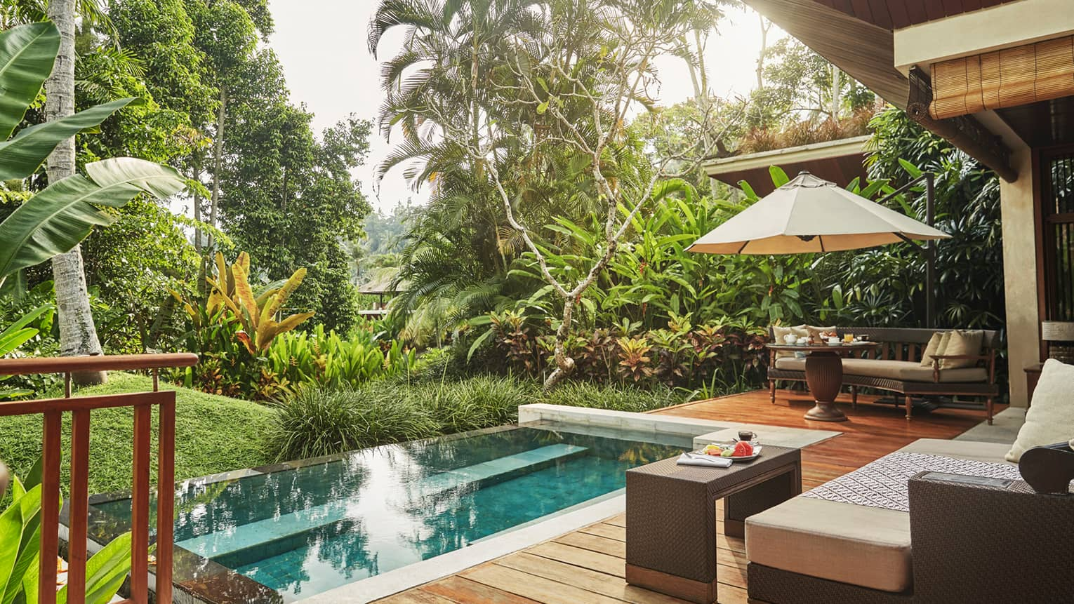 Small rectangular plunge pool off villa patio, surrounded by green tropical plants