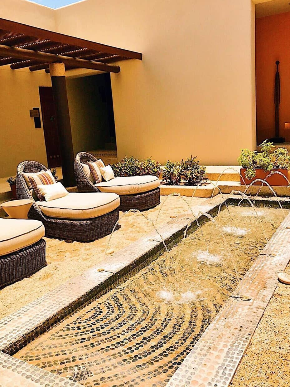 @chiliandtart; Three Large, Plush Wicker Lounge Chairs In Front Of Small  Rectangular Pool With Fountain