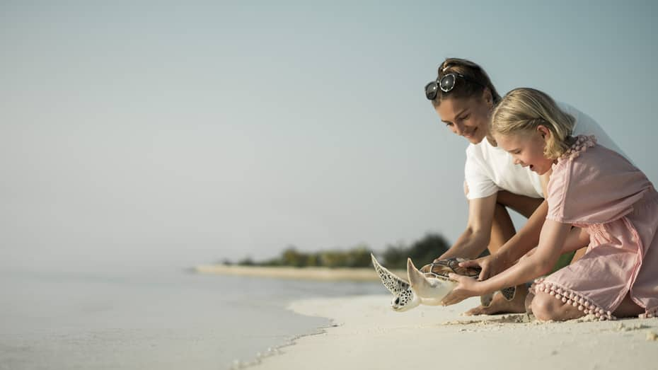 Marine Discovery Centre. Woman and daughter help release a sea turtle back in ocean