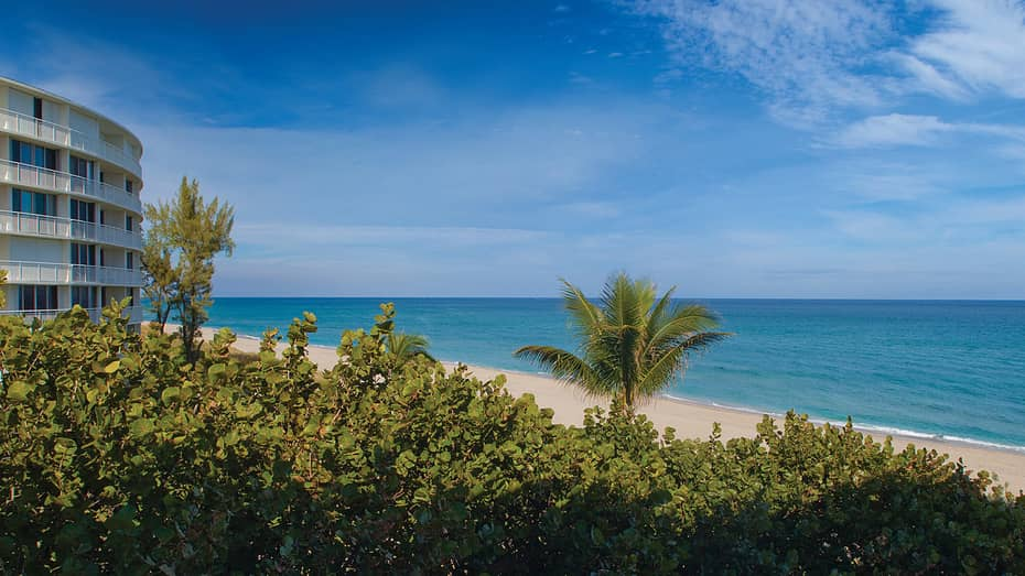 View from garden looking out at beach and ocean, side of white building