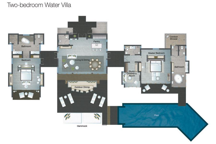 2 Bedroom Luxury Over Water Villa Maldives Four Seasons Voavah Maldives