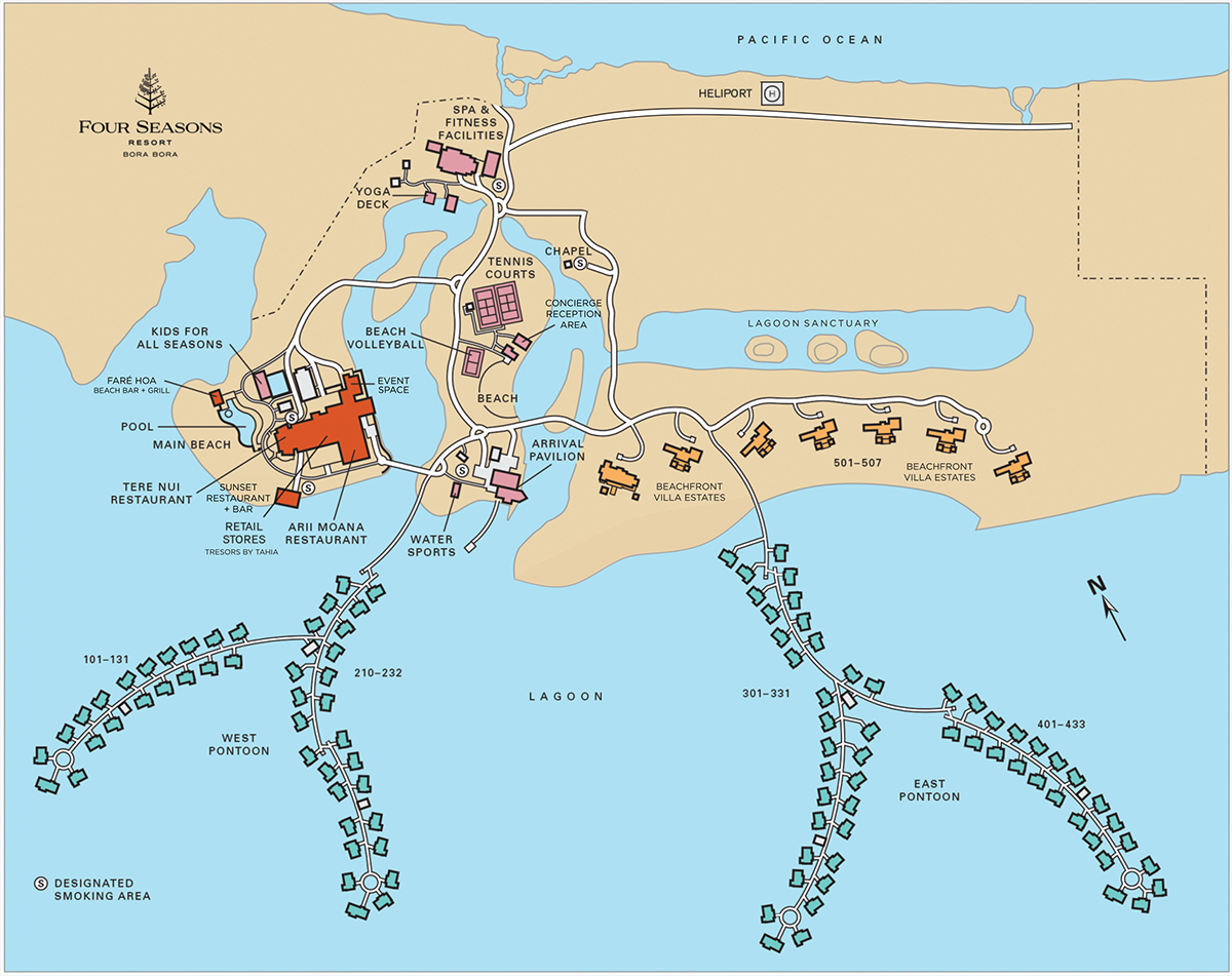 Resort Map of Four Seasons Resort Bora Bora