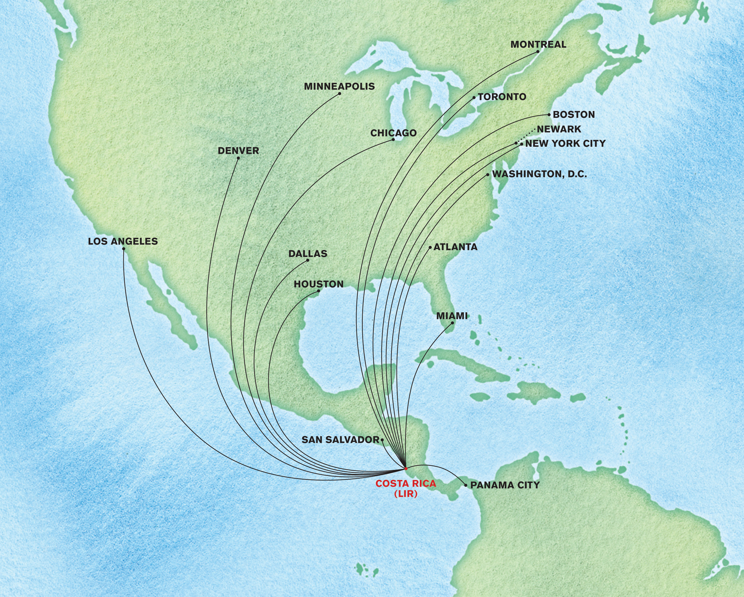 Map of Air Travel Flights to Costa Rica
