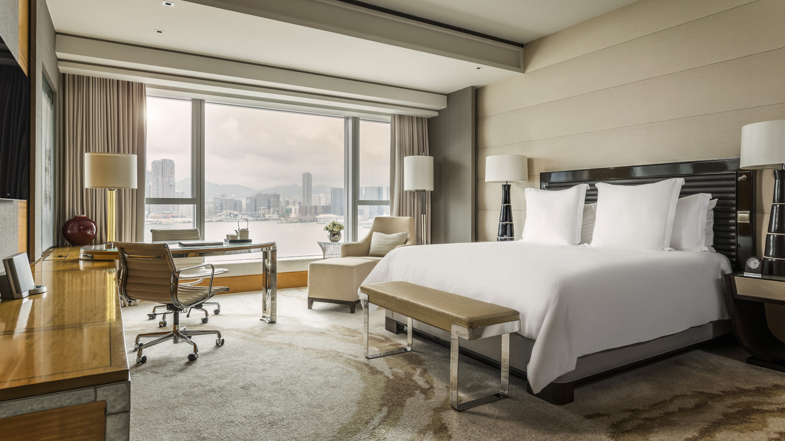Deluxe Harbour-View Room in Four Seasons Hotel Hong Kong, a Five-Star Hotel in Hong Kong