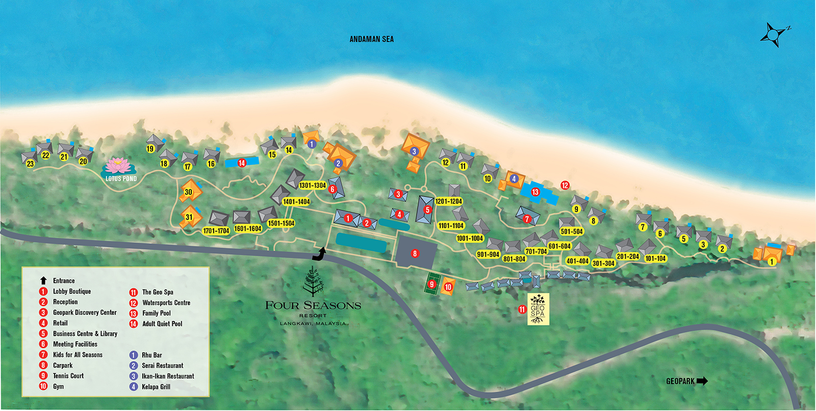 Resort Map of Four Seasons Resort Langkawi