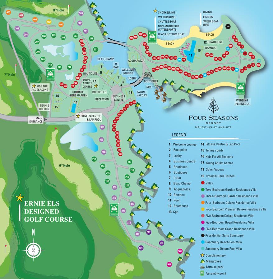 Mauritius Resort Map Four Seasons Resort Mauritius At Anahita - Mauritius map