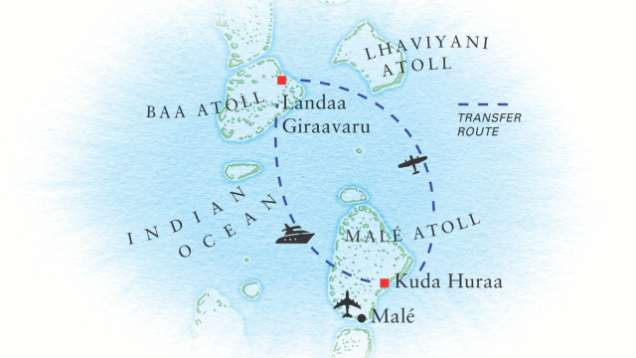 Complexe Hotelier Aux Maldives Itineraires Et Cartes Four Seasons Resort Maldives At Kuda Huraa